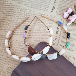 Wholesale Boho Shell Natural Stone Hair Hoop Hairbands For Women Handmade Rainbow Gravel Beaded Jewelry Charm Party Accessory Fashion New