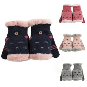 Wholesale Winter Women Girls Gloves Without Fingers Soft Knitting Wool Thick Warm Mittens Fingerless Female Cute Cartoon Gloves