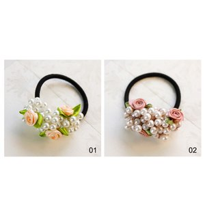 Wholesale Small Fresh Flowers Beaded Simulated Pearl Headband Rubber Head Rope Elastic Hair Band Female Hairwear Hair Ring Accessories