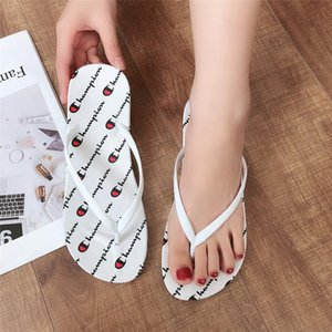 Wholesale Women Champions Flip Flops Summer Flat Sandals Full Letters Printed Slippers Beach Bath Flip flop Sandal Slipper Shoes Solid Colors A52101