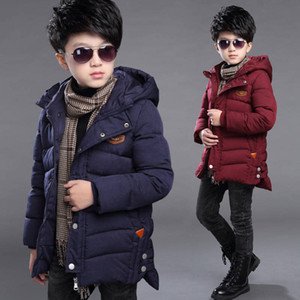 Boys' cotton coat Outwear new winter big children's cotton jacket thick children's long cotton coat Windbreaker on Sale