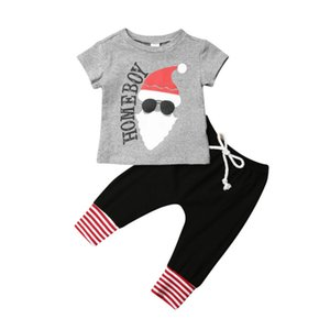 Wholesale Newborn Baby Boy Christmas Clothes Set Cotton Short Sleeve Santa Claus T Shirt Tops Pants Outfits Set T