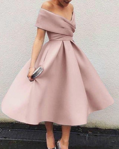 Wholesale 2020 Generous Pink Emerald Midi Prom Dress With Sleeve A Line Short Prom Dresses For Junior Plus Size Dance Ceremony dress