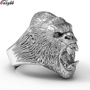 Wholesale Punk Titanium Steel Bear Rings For Men Black Silver Color Wide Biker Ring Men s Finger Band Dropshipping Jewelry Size
