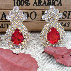 Wholesale zerongE jewelry new Colorful rhinestone Earrings for lady gold green royal blue yellow red fushia color crystal luxury earring