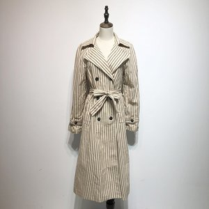 Wholesale 2018 Europe Styel Women Khaki Stripes Medium Long Trench Female Double Breasted Full Sleeve Coat Casual England Adjustable Waist