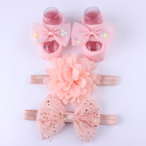 Wholesale 3Pcs Set Newborn Baby Headband Socks Cute Crown Bows Baby Girl Headbands Infant Girls Hair Band Haarband Baby Hair Accessories DHL LE351