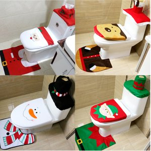 Wholesale Toilet Foot Pad Seat Cover Cap Christmas Decorations Happy Santa Toilet Seat Cover and Rug Bathroom Accessory Santa Claus
