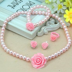1 set Fashion Kids Girls Child Pearl Flower Shape Necklace Bracelet Ring Ear Studs Clips Jewelry Set Gift Sale