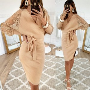 Wholesale jumper knee for sale - Group buy Women s Knitted Jumper Long Sleeve Dress New Lace Sleeve Winter Autumn Warm Bodycon Lace Up Deep V Neck Knitted Dresses