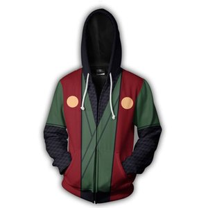 Wholesale New Naruto animation series Sweatshirt d digital printing men pullover zipper Hoodie anime periphery jacket