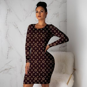 Wholesale Women fall winter dresses brand mini skirt crew neck long sleeve dress fashion solid color dresses casual bodycon dress