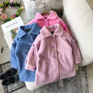 Yorkzaler Winter Kids Outerwear Fot Girl Long Sleeve Bowknot Girl Woolen Coats Solid Cotton Toddler Baby Clothes Children Jacket SH190912 on Sale