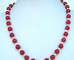 Wholesale necklace Hot sale gt gt gt gt gt Beautiful Genuine Red Jade White Pearl Beads KWGP Clasp Necklace