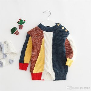 Newest INS Baby Boys Patchwork Sweaters Pullover Spring Autumn Children Outwears Newborn Shoulder Buttons Sweaters Shirts Pullover Outfits on Sale