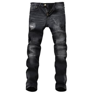 Wholesale Nice Nostalgia Retro Black Holes Patchwork Jeans Men Straight Casual Slim Denim Trousers Mens Jeans Ripped Long Size 28-28