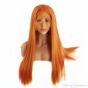 Orange Color Long Straight Synthetic Lace Front Wigs Natural Glueless Lace Wigs for Women Heat Resistant Fiber Hair Cosplay Party