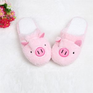 Wholesale Winter Warm Slippers Indoor Home Shoes cotton Slipper Lovely Pig Home Floor Soft Stripe Slippers Female Shoes buty damskie