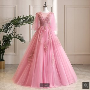 2019 real picture pink lace appliques ball gown prom dress scoop neckline beaded crystals modest sweet 16 prom party dresses