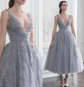 Wholesale princess cocktail dresses for sale - Group buy 2020 Beaded Princess Prom Cocktail Dresses Paolo Sebastian Short Sequined Evening Gowns Deep V Neck A Line vestidos de fiesta Tulle