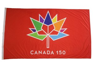 Wholesale canada flags for sale - Group buy 90x150cm Large Canada Year Anniversary Flag Home Decor Hanging Polyester Banner x5FT