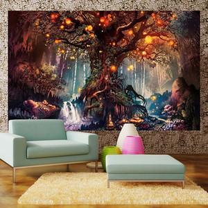 Wholesale Wishing Trees Tapestry D Print Tapestry Wall Hanging Psychedelic Decorative Wall Carpet Bed Sheet Bohemian Hippie Home Decor