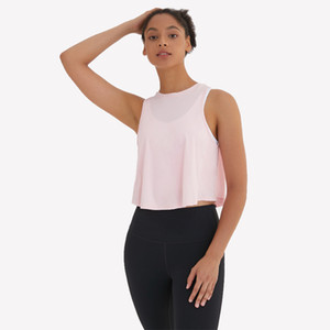 Wholesale spandex yoga sets resale online - tank tops luyogasports sleeveless mesh tanks vest pleated wrinkled sports blouse fitness brand logo Yoga quick dry solid color Yogaworld