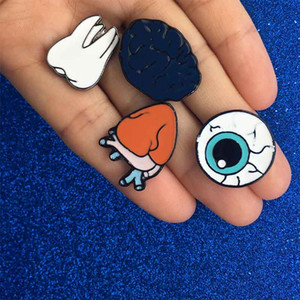 Wholesale human organs body for sale - Group buy Human Body Organ Eye Heart Tooth Brooch Pins Lapel Pins Badge Fashion Jewelry for Women Men Kids Christmas Gift will and sandy Drop Ship