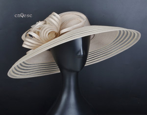 2019 X Large LT beige Ladies formal dress hat PP Straw sun hat summer hat for prom mother'day Races kentucky derby