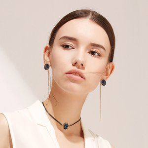 Fashion Women's Tassel Earrings Removable Gold Chain Royal Blue Zircon Crystals Girls' Earrings Jewelry 2018