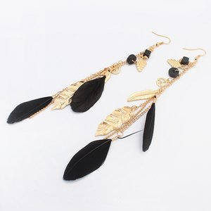 Leaf Feather Tassel Earrings Gold Long Feather Dangle Chandelier Ear Rings Ear Cuffs Fashion Jewelry for Women Will and Sandy 350071