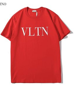 Wholesale 2019 new tee red men women classic simple letter logo print T Shirt short Sleeve O neck T Shirt S XXL