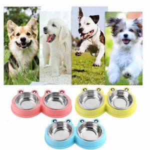 Wholesale 3 Colors Stainless Steel Double Pet Bowls for Dog Puppy Cats Food Water Feeder Pets Supplies Feeding Dishes Dogs Bowl
