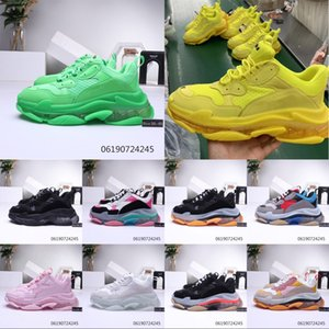 Wholesale Mens Fashion 17FW Triple S Crystal Bottom Dad Casual shoes for Women's Black Cheap Sports Triple S Clear Sole Designer Shoes Size 36-45
