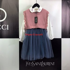 Wholesale Girls vest sets kids designer clothing knitted wool vest lapel embroidery long sleeved dress autumn stitching mesh skirt sets