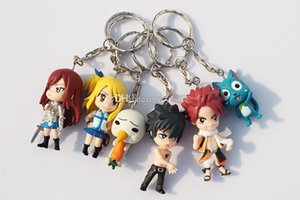 18pcs 3set Fairy Tail Figure Character With Keychain Pendant Pvc Dolls Toys Great Gift 6cm Approx