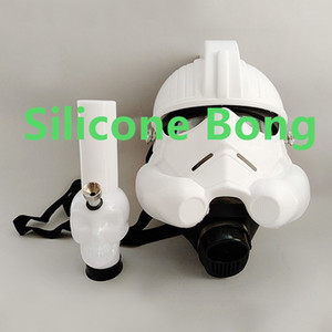 Wholesale Silicone Water Bong with Gas Mask Acrylic Pipe Smoking Hookahn Suit Bongs