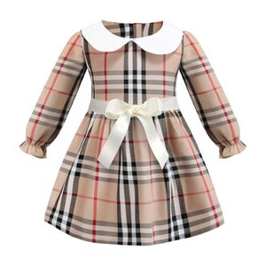 Wholesale 2019 fashion spring baby girls dress brand plaid skirt lapel cotton long sleeve shirts children kids clothes infant bow dress cute coat
