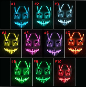 LED Light Mask Up Funny Mask from The Purge Election Year Great for Festival Cosplay Halloween Costume 2019 New Year Cosplay on Sale