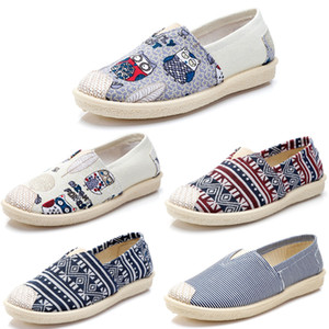 kanvas kaykay toptan satış-Sigara marka Vintage bayan ayakkabı Espadrilles Chaussures Flats Casual kanvas ayakkabılar Klasik Loafers Sneakers Stil Slip On