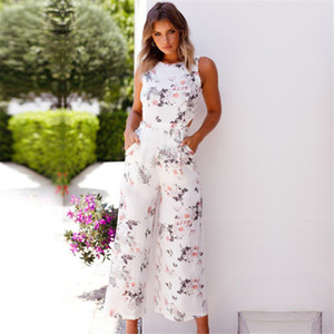 Wholesale Summer Women Jumpsuit Sexy Sleeveless Print Playsuits Female Pockets Casual Strap Rompers Fashion Blackness Jumpsuits