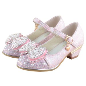 Girls Princess Shoes Pearls Buckle Strap Beef Tendon Sandals Girls Toddler Flowers Decoration Single Shoes Kids Performance Shoe 07