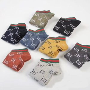 Wholesale 5 Pairs Top quality Fashion mens sock unisex women Cotton Couple luxury mens designer socks Free size