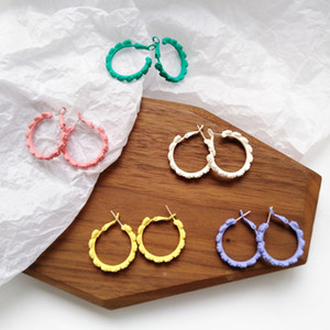 Wholesale Personalized Geometric Round Hoop Earrings For Women Circle Jewelry Yellow Green White Spray Paint Flower Earing