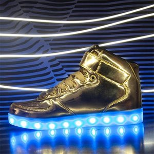 Wholesale IGxx High Top LED Shoes Light Up For Men LED Sneakers USB Recharging Shoes Women Glowing Luminous Flashing Kids