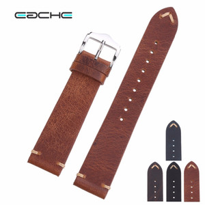 Wholesale Eache Handmade Wax Oil Skin Watch Straps Vintage Genuine Leather Watchband Calfskin Watch Straps Different Colors mm mm mm T190705