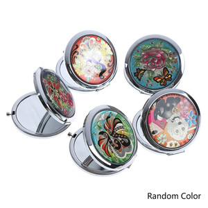 Wholesale Vintage Cosmetic Mirrors Mini Makeup Compact Pocket Mirror Flower Butterfly Metal Portable Double Side Folding Makeup Mirror
