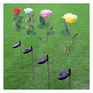 Wholesale Outdoor Solar Lights Rose Flower Solar Powered LED Stake Light Landscape Decorative Night Light for for Yard Garden Pathway New