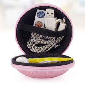 Wholesale Round Hard Zipper Sport Earphone Cable Carrying Pouch Storage Case Bag for Earphone Headphone SD TF Cards Cable Cord Wire
