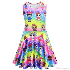 Wholesale Factory direct sale ids designer clothes girls vest sleeveless skirt doll cartoon pattern can sent one
